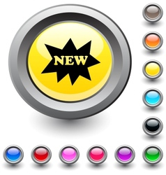 New round button vector image vector image