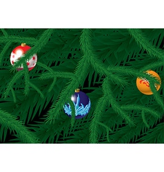 Card with fir and baubles vector image