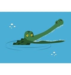 Crocodile in water large alligator in swamp cute vector