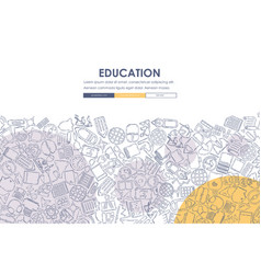 education doodle website template design vector image