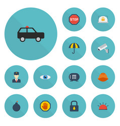 flat icons siren lock armored car and other vector image
