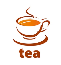 Logo contour cup of tea vector