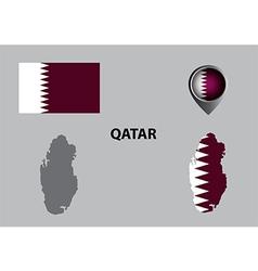 Map of Qatar and symbol vector image