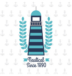 nautical lighthouse with laurel anchor background vector image