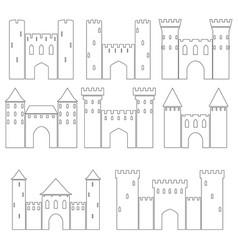 set of medieval castles vector image