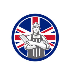 british butcher front union jack flag icon vector image vector image