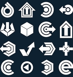 Geometric monochrome abstract shapes collection of vector