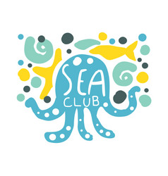 sea club logo summer travel and sport hand drawn vector image
