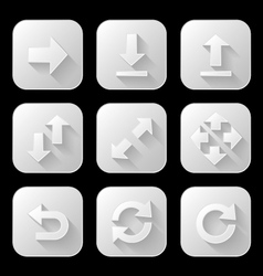 Set of arrow icons with long shadow vector image vector image