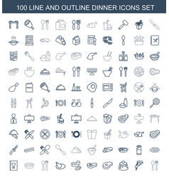 100 dinner icons vector