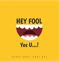 april fools day lettering typography on yellow vector image