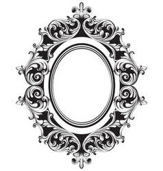Baroque mirror frame line art french vector