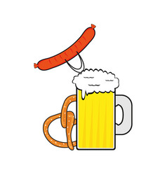 beer sausage and pretzel vector image