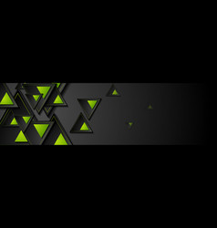 black and green triangles abstract geometric tech vector image