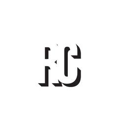 black and white rc r c alphabet letter logo vector image