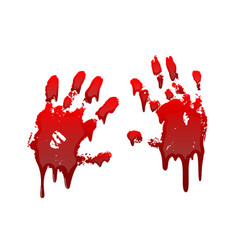 bloody hand print 3d set isolated white background vector image