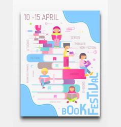 Book festival poster vector