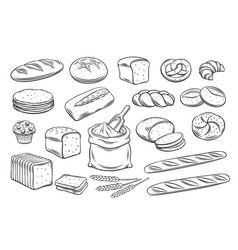 Bread outline icons vector