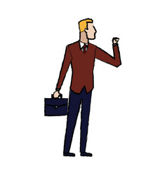 business man with suit and briefcase standing vector image
