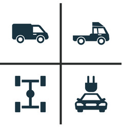 Car icons set collection of van wheelbase truck vector