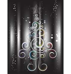 Card with Decorative Christmas Tree2 vector image