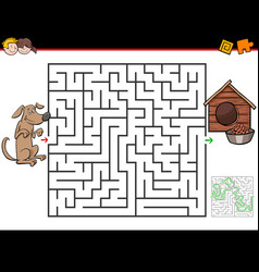Cartoon maze game with dog and doghouse vector