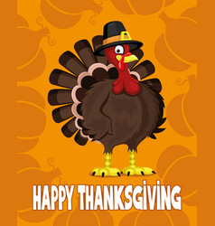 Cartoon turkey and text happy thanksgiving vector