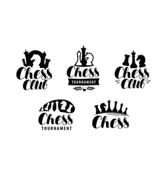 Chess club logo or label game tournament icon vector