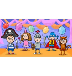 children at fancy ball cartoon vector image