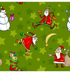 christmas cartoon seamless pattern design vector image