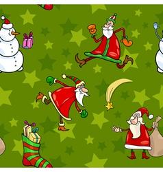christmas cartoon seamless pattern design vector image
