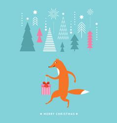 christmas greeting card postcard seasons greeting vector image