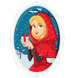 Christmas Princess With Gift Box in Winter Outside vector