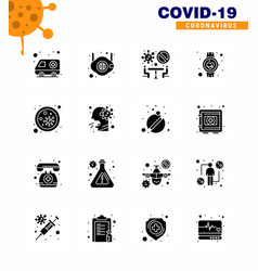coronavirus awareness icons 16 solid glyph black vector image