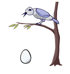 Cuckoo sitting on a branch and cuckoo egg vector