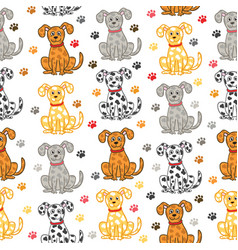 cute dogs seamless pattern funny doodle vector image