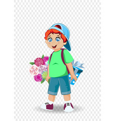 cute little boy with flowers and present vector image