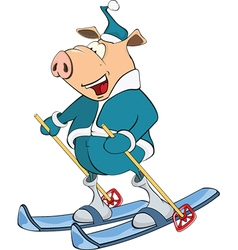 Cute Pig Skier Cartoon Character vector image