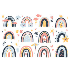 cute weather elements childish boho rainbows and vector image