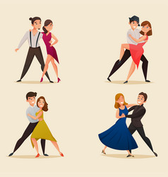 Dance pairs retro cartoon set vector
