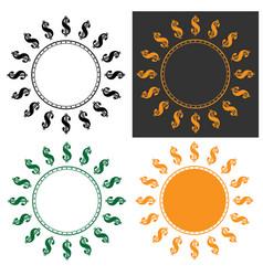 dollar symbol round frame vector image