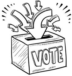 Doodle vote ballot box vector