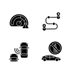 driving risks black glyph icons set on white space vector image
