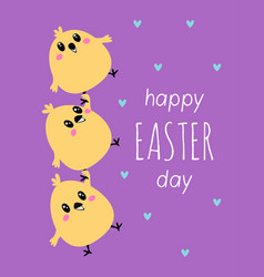 easter card with cute chickens vector image