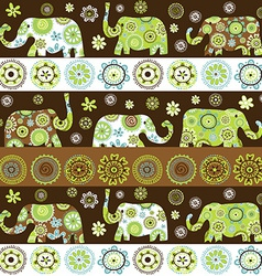 Ethnic background with floral patterned elephants vector