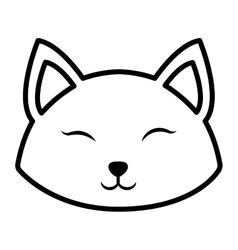 Face cat clossed eyes outline vector