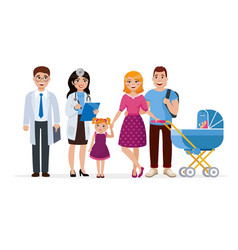 family doctor and healthy family cartoon vector image