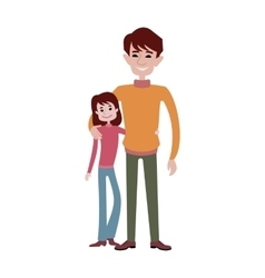 Father and daughter together character vector image