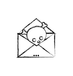 figure e-mail letter message with danger skull vector image