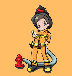 Fireman with cute character vector